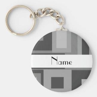 Retro gray squares personalized name keychain