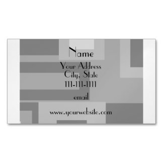 Retro gray squares personalized name magnetic business cards (Pack of 25)
