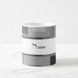 Retro gray squares personalized name classic white coffee mug
