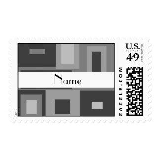 Retro gray squares personalized name stamp