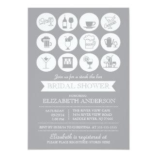 "Retro Gray Stock the Bar Bridal Shower Invitation 5"" X 7"" Invitation Card"