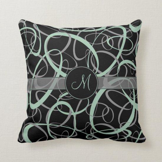 retro grayed jade and gray rings on black monogram throw pillow