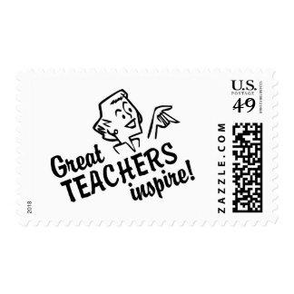 Retro Great Teachers Inspire Postage Stamp