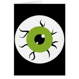 Retro Green and Black Eyeball Stationery Note Card