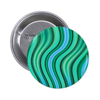 Retro green and blue wavy stripes pattern button