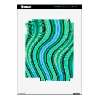 Retro green and blue wavy stripes pattern decals for iPad 3