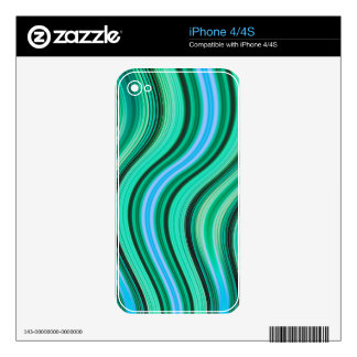 Retro green and blue wavy stripes pattern iPhone 4S decals