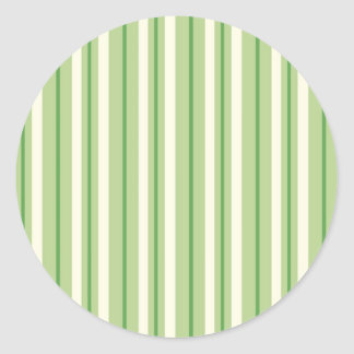 Retro Green and Cream Awning Stripes Classic Round Sticker