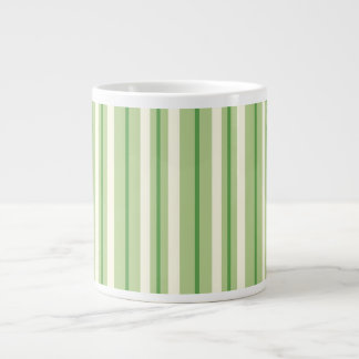 Retro Green and Cream Awning Stripes Giant Coffee Mug
