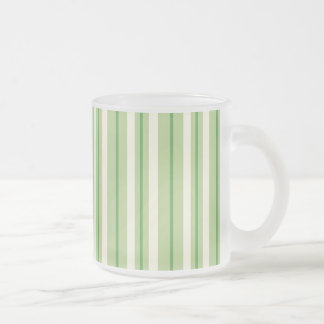 Retro Green and Cream Awning Stripes 10 Oz Frosted Glass Coffee Mug