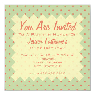 Retro Green and Melon Dot Invitation