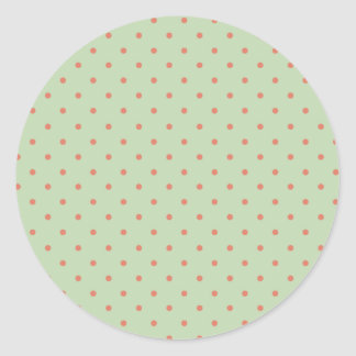 Retro Green and Melon Polka Dot Classic Round Sticker