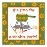 Retro Green and Orange Daisy Fondue Party 5.25x5.25 Square Paper Invitation Card