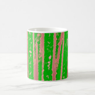 Retro Green and Pink Stripes Classic White Coffee Mug