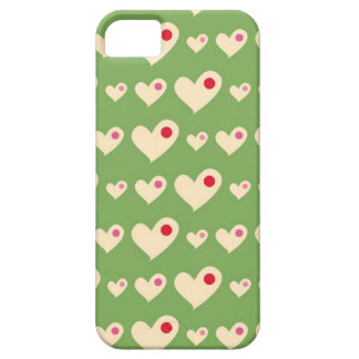 Retro green and red bubble hearts pattern 4  iPhone SE/5/5s case