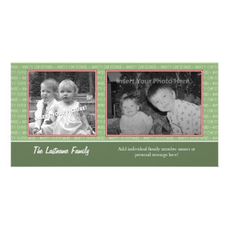 Retro Green and Red with 2 photos - horizontal Photo Card