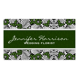 Retro Green and White Fern Business Card Template Standard Business Cards