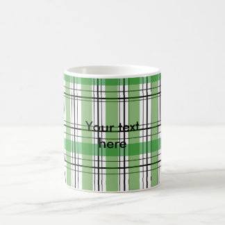 Retro green and white plaid classic white coffee mug