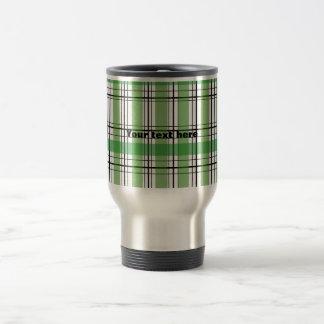 Retro green and white plaid 15 oz stainless steel travel mug