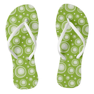 Retro Green And White Polka Dots Pattern Flip Flops
