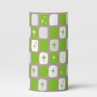 Retro Green and White Starbursts Pillar Candle