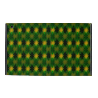 Retro green and yellow diamond pattern iPad case