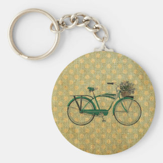 Retro Green Bike with Flower Basket Basic Round Button Keychain