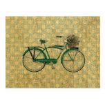 Retro Green Bike with Flower Basket Postcard