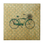 Retro Green Bike with Flower Basket Small Square Tile