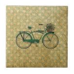 Retro Green Bike with Flower Basket Tile