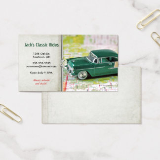 retro green car on map business card