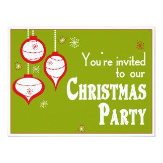"Retro Green Christmas Invitations 6.5"" X 8.75"" Invitation Card"