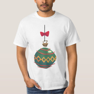 Retro Green Christmas Ornament with Red Bow T-Shirt