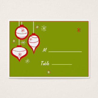 Retro Green Christmas Placecards Business Card