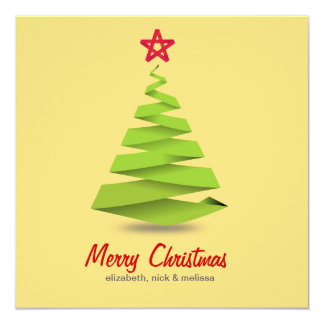 Retro green christmas tree star greeting card