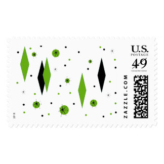 Retro Green Diamonds and Starbursts Postage Stamps