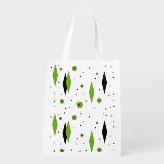 Retro Green Diamonds and Starbursts Reusable Bag