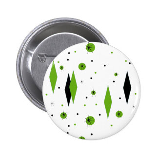 Retro Green Diamonds & Starbursts Button