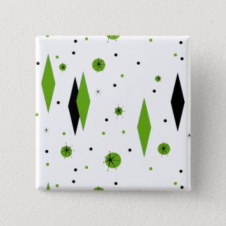 Retro Green Diamonds & Starbursts Button