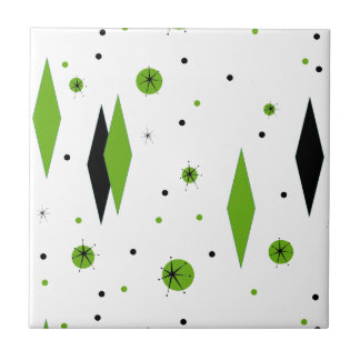 Retro Green Diamonds & Starbursts Ceramic Tile