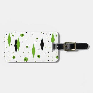 Retro Green Diamonds & Starbursts Luggage Tag