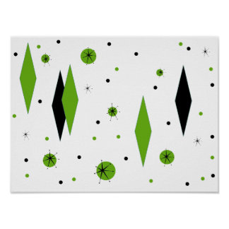 Retro Green Diamonds & Starbursts Poster