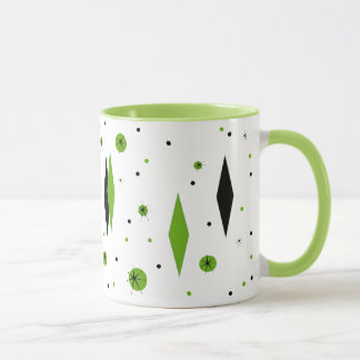 Retro Green Diamonds & Starbursts Ringer Mug