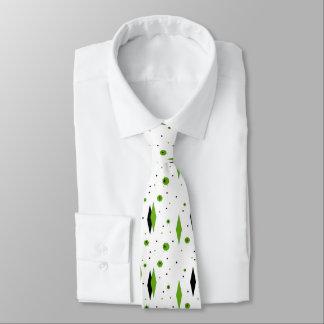 Retro Green Diamonds & Starbursts Tie