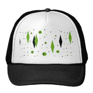 Retro Green Diamonds & Starbursts Trucker Hat