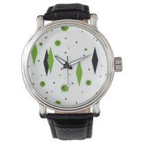 Retro Green Diamonds & Starbursts Watch
