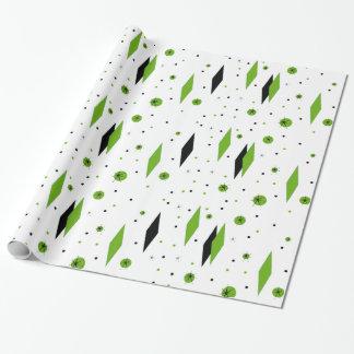 Retro Green Diamonds & Starbursts Wrapping Paper