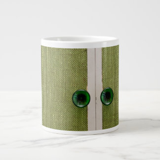 Retro green doors large coffee mug