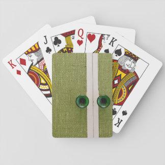 Retro green doors deck of cards