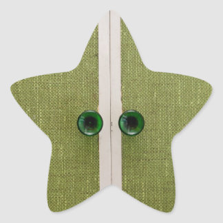 Retro green doors star sticker